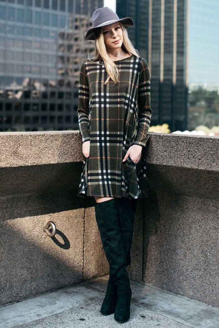 Plaid Sweater Midi Dress : Olive
