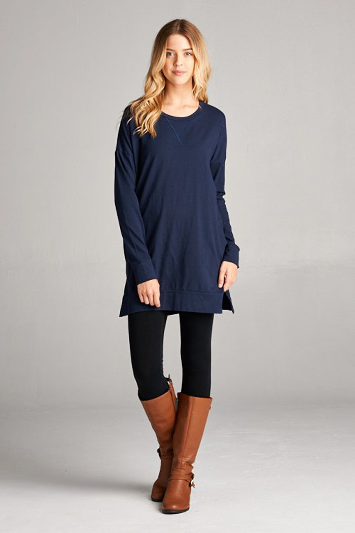 Essential Solid Tunic Top : Navy