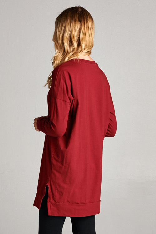 Essential Solid Tunic Top : Burgundy