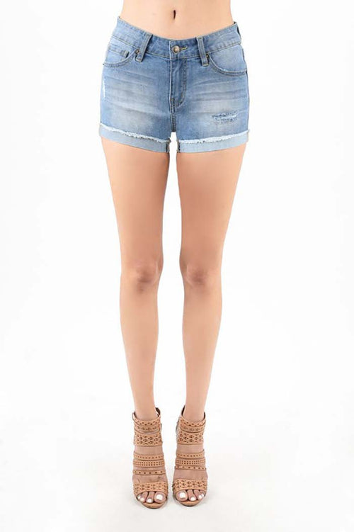 Mckenna Denim Shorts : Light Blue
