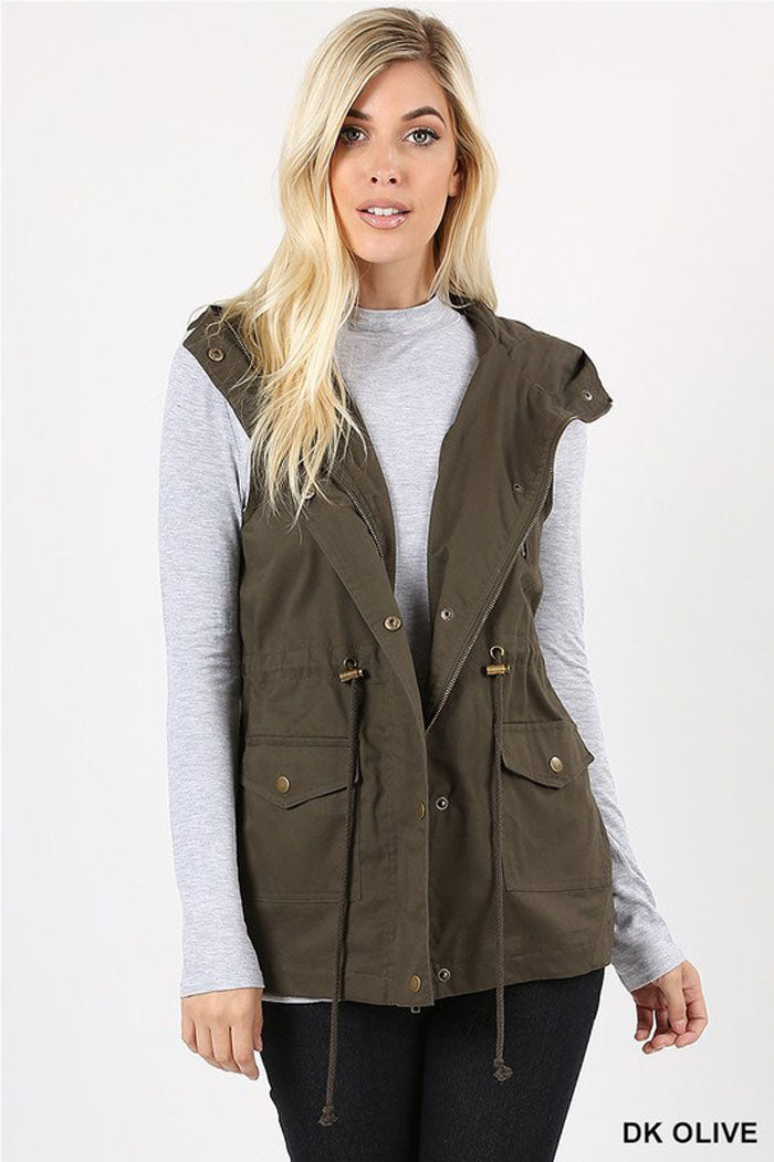 Casual Hooded Vest : Khaki
