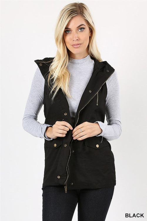 Casual Hooded Vest : Black