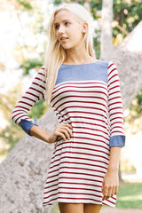 Dana Stripe Contrast Dress : Burgundy