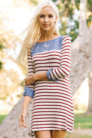Allison Stripe Top : Burgundy