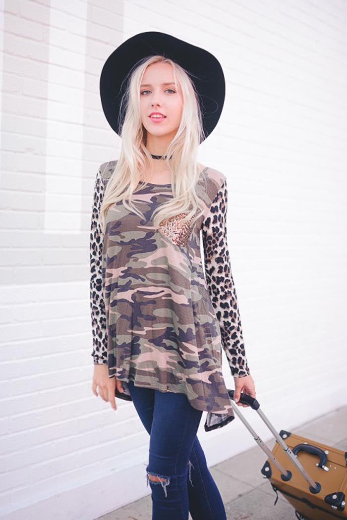 Leopard and Camo Top - shirts - GOZON