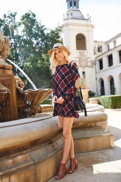 Plaid Knit Mini Dress : Burgundy
