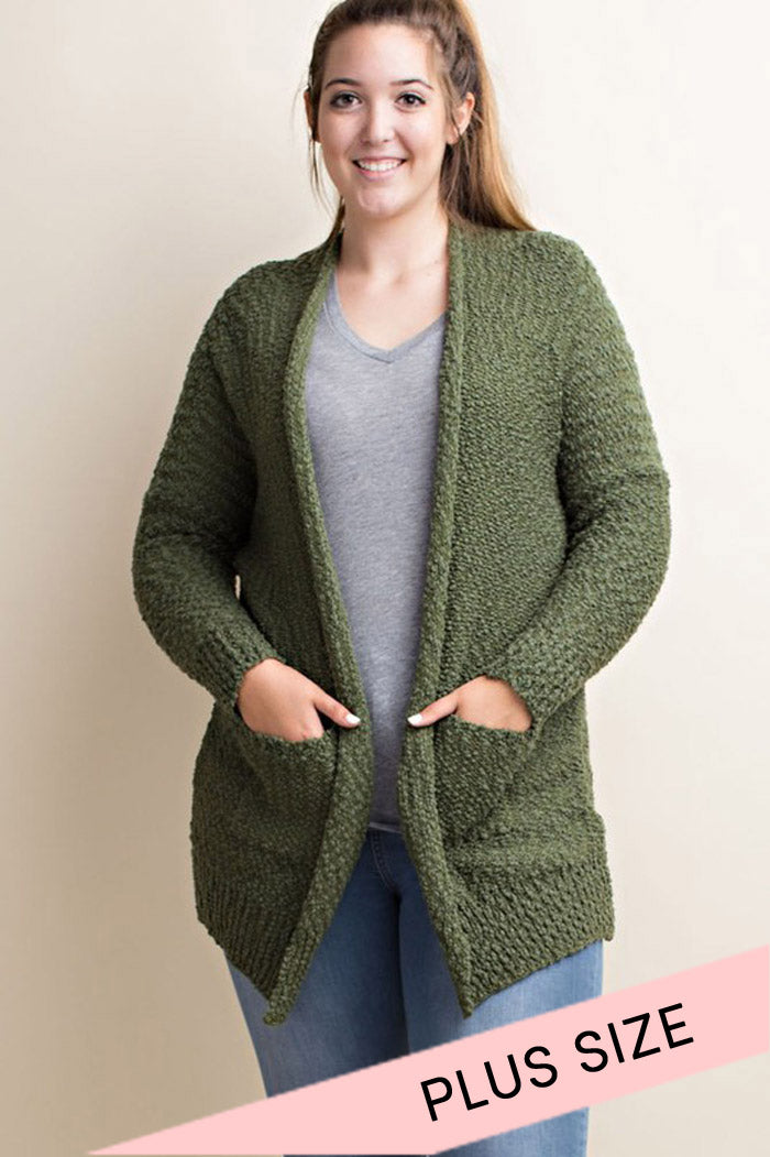 Everyday Solid Cardigan : Olive