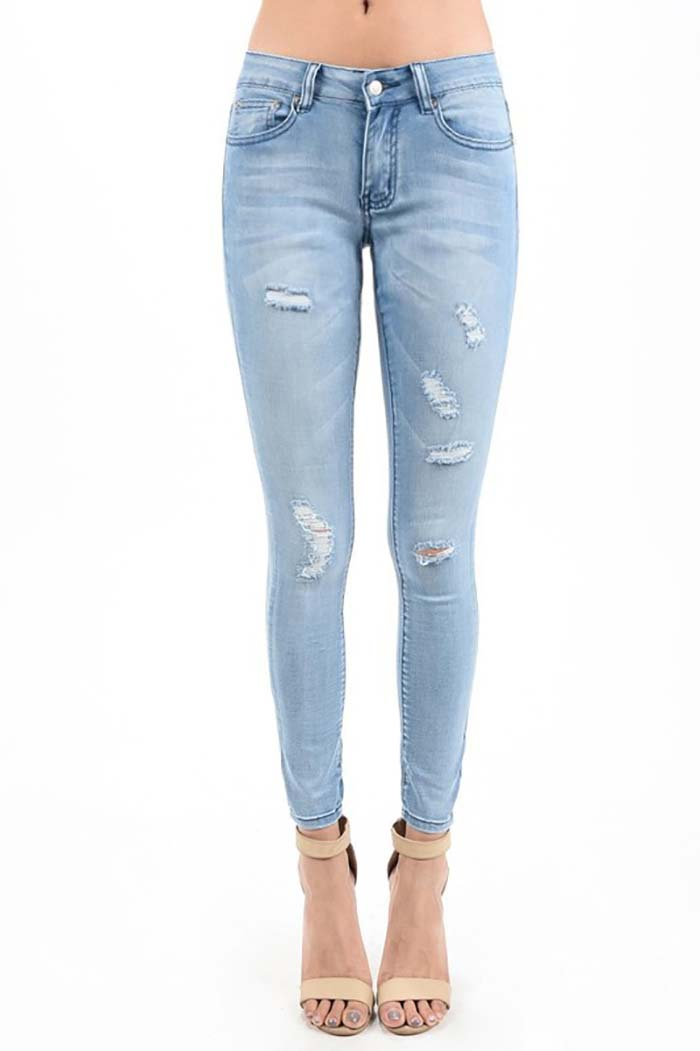 Aria Ankle Skinny Jeans : Light Blue