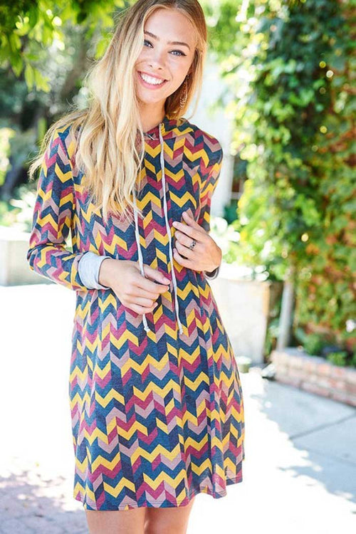 Chevron Hooded Mini Dress