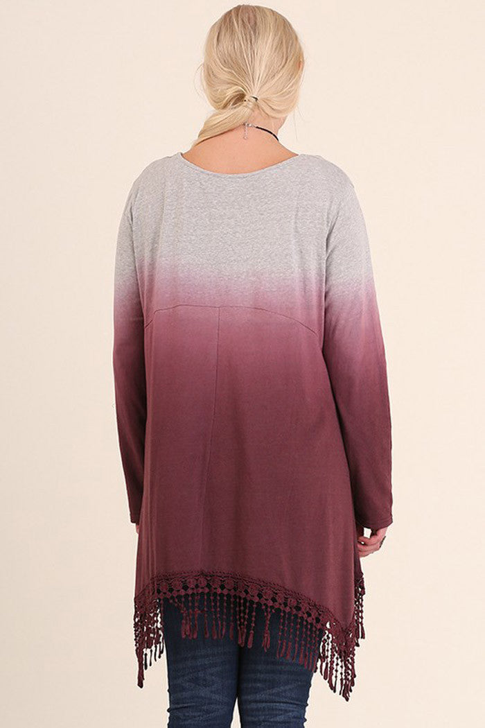 A-Line Dip Dye Tunic -Plus - top plus - GOZON