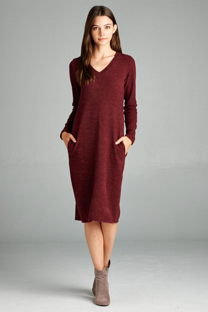 Isabel V-Neck Midi Dress