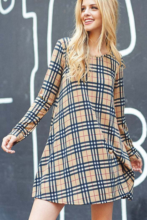 Casual Plaid Mini Dress