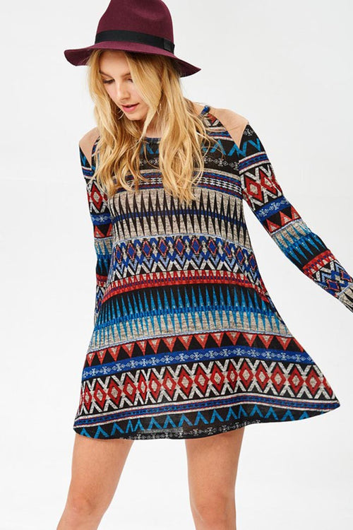 Casual Aztec Mini Dress : Blue
