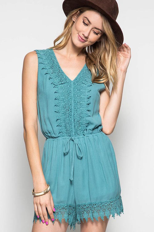 Solid Sleeveless Romper - Rompers & Jumpsuits - GOZON