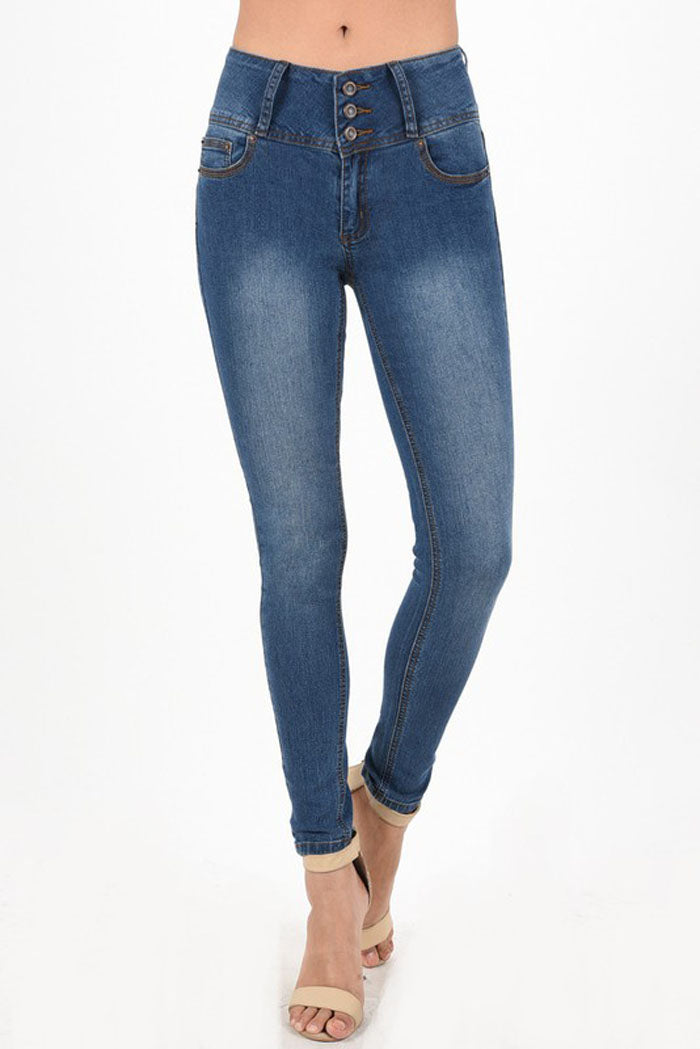 Bella High Rise Jeans : Medium Blue