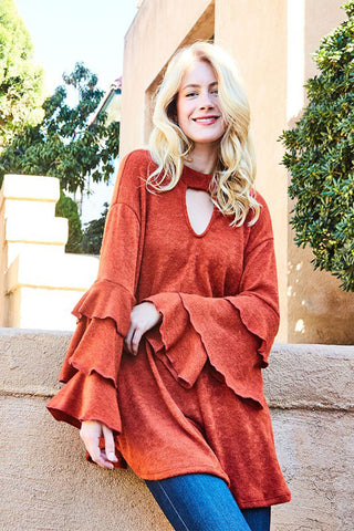 Jessica Bubble Sleeve Tunic : Natural