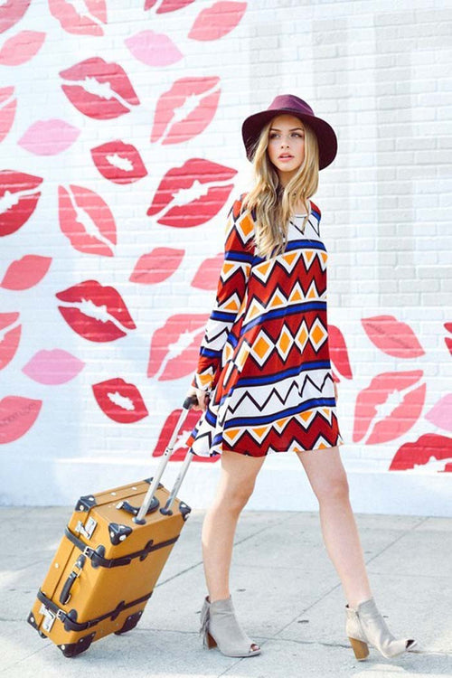 Casual Aztec Mini Dress : Burgundy