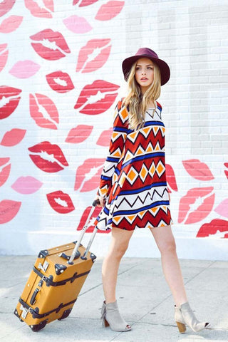 Casual Aztec Mini Dress