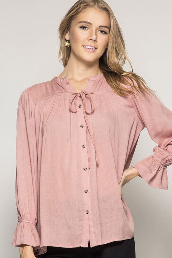 Solid Peasant Blouse - Shirts - GOZON