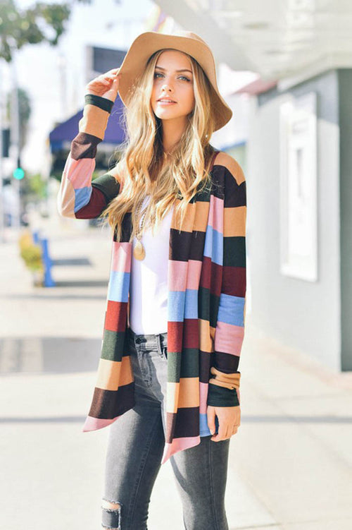 Casual Color Block Cardigan - Taupe