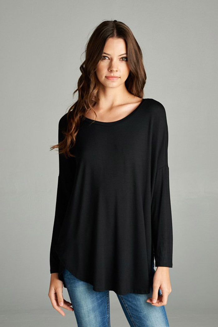 Solid Hi-Low Tunic Top - tunics - GOZON