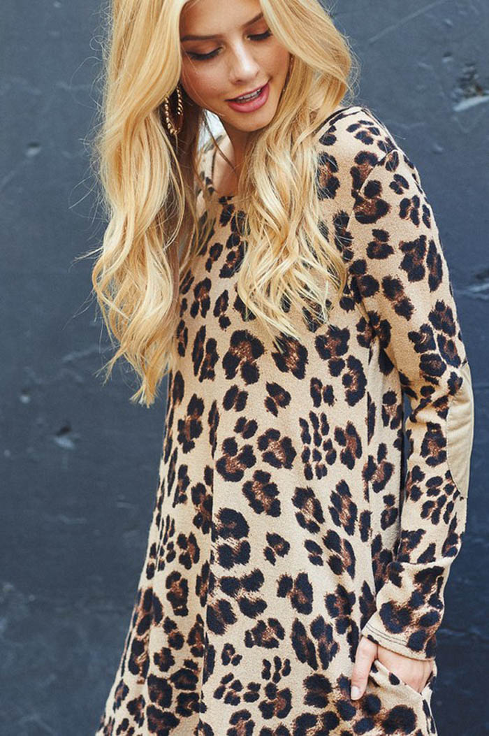 Lovely Animal Print Dress - Taupe