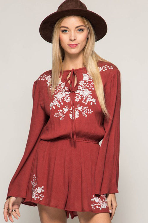 Floral Embroidery Romper - Rompers & Jumpsuits - GOZON