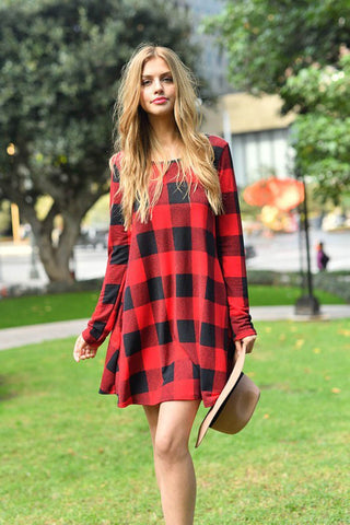 Red Plaid Swing Dress - Red/Black