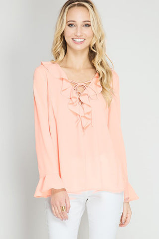 Lace-Up Ruffle Blouse - Shirts - GOZON