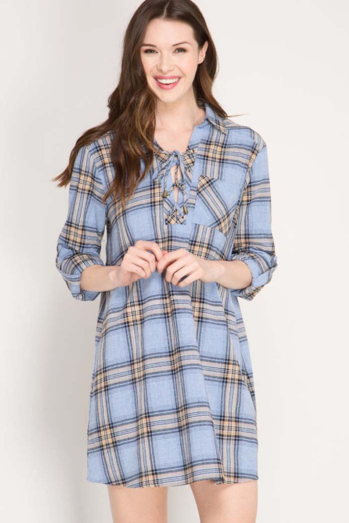 Roll-Up Plaid Shirt Dress - Mini - GOZON
