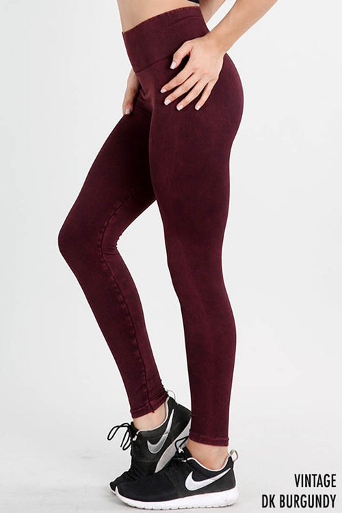 High Waist Vintage Leggings : Burgundy