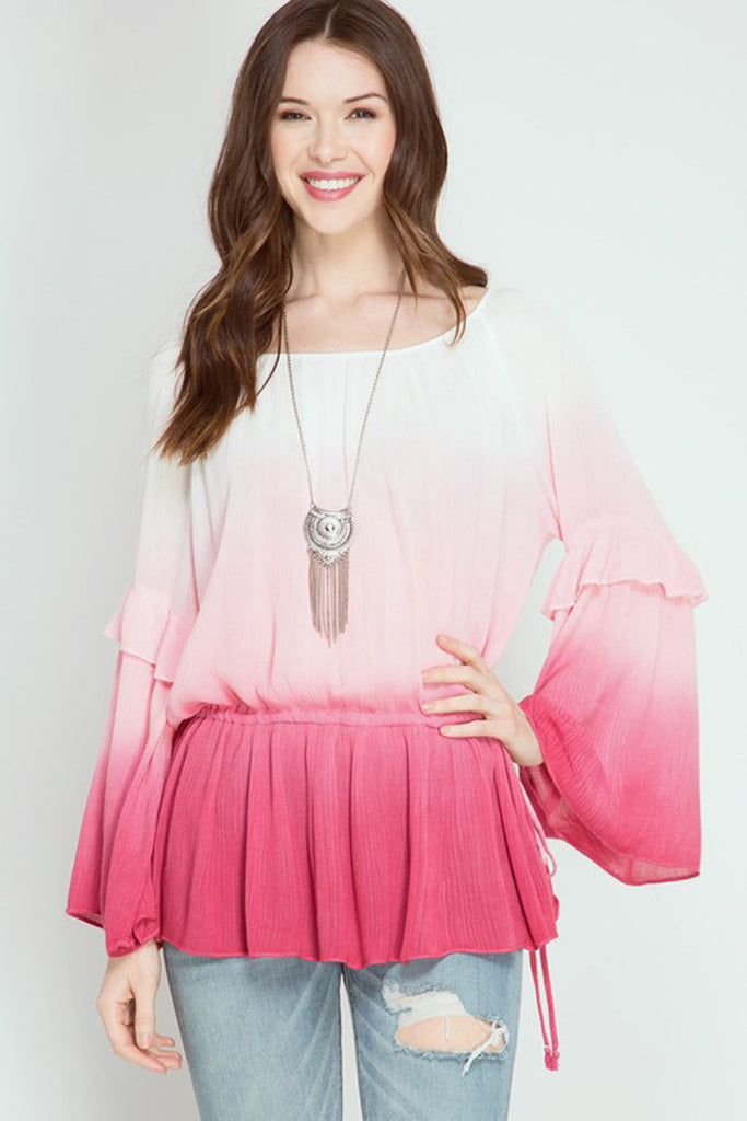 Ombre Peasant Top - Shirts - GOZON