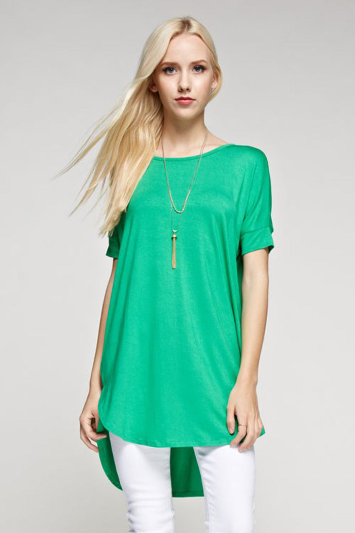 Leah Piko Tunic Top : Kelly Green