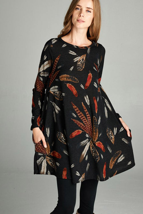 Casual Feather Midi Dress : Black