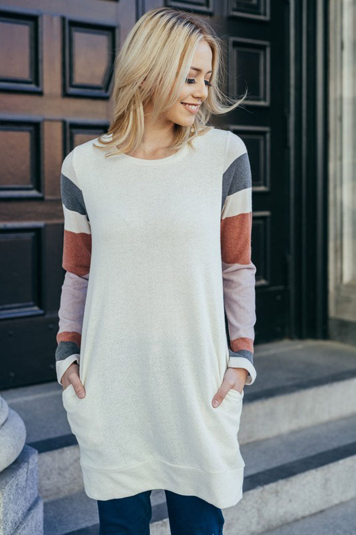 Casual Tunic Top - Lilac/Charcoal