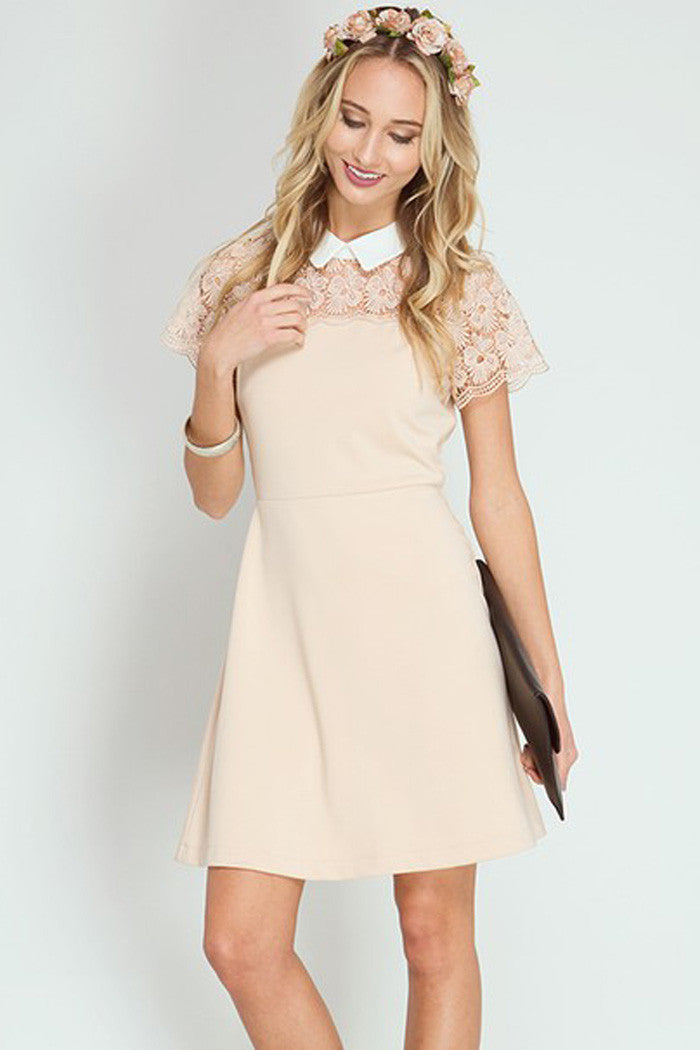 Lace Yoke Mini Dress - Mini - GOZON