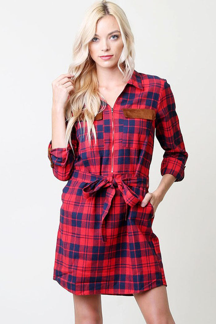 Nancy Plaid Midi Dress : Red