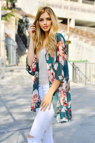 Spring Floral Print Open Front Cardigan