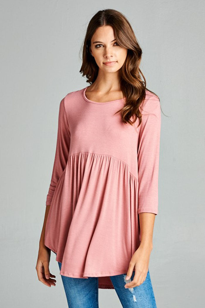 Solid Baby Doll Top : Dusty pink