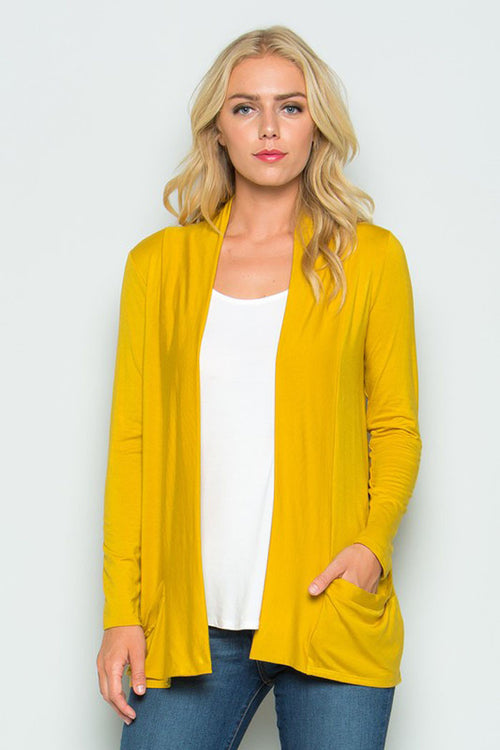 Solid Cardigan with Pockets : Mustard
