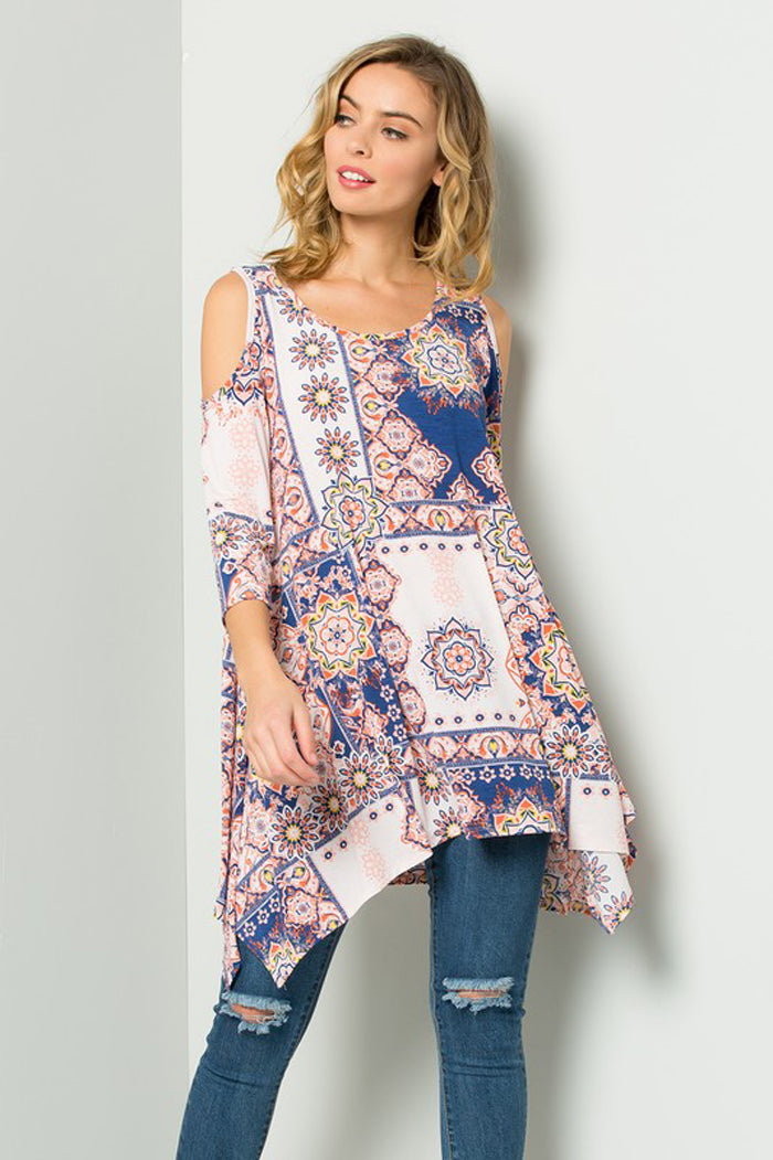 Alexis Medallion Tunic Top : Coral