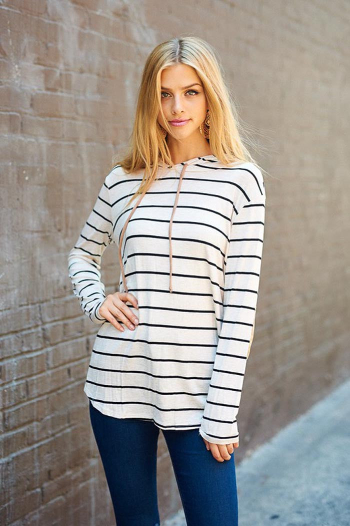 Daily Stripe Hooded Top : Taupe