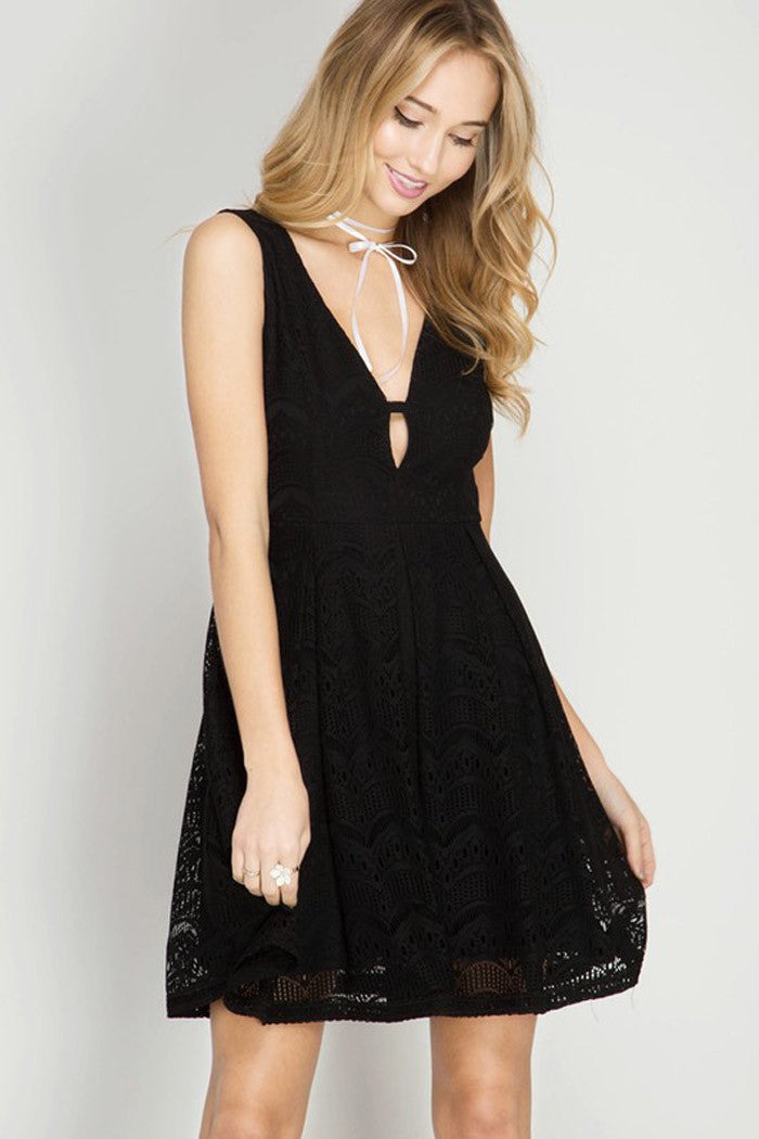 A-Line Lace Mini Dress - Mini - GOZON
