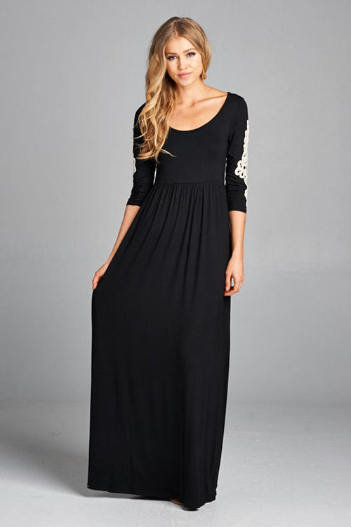Aria Solid Maxi Dress : Black
