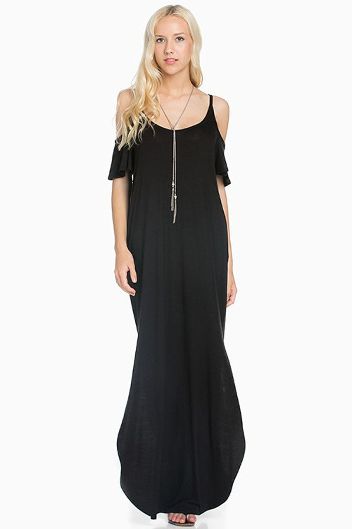 Round Hem Solid Maxi Dress : Black