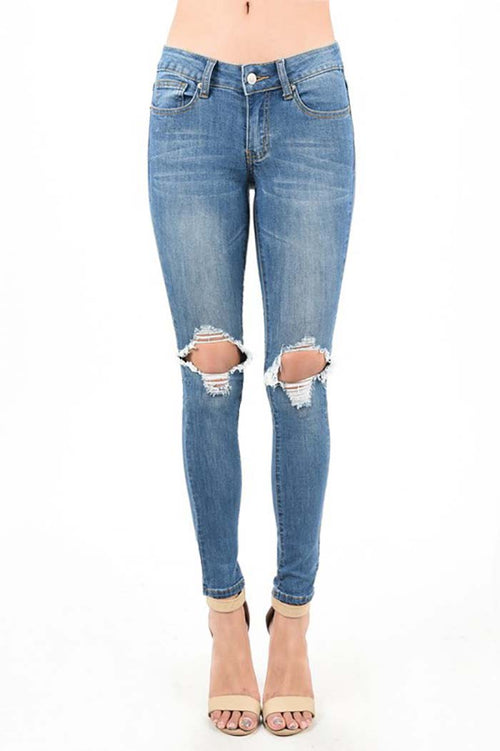 Aurora Destroyed Jeans Ribbed Denim : Medium Blue