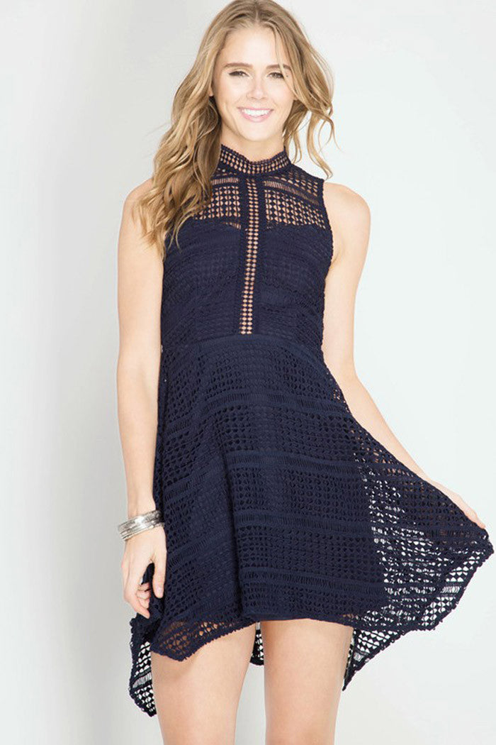 Crochet Lace Mini Dress - Mini - GOZON