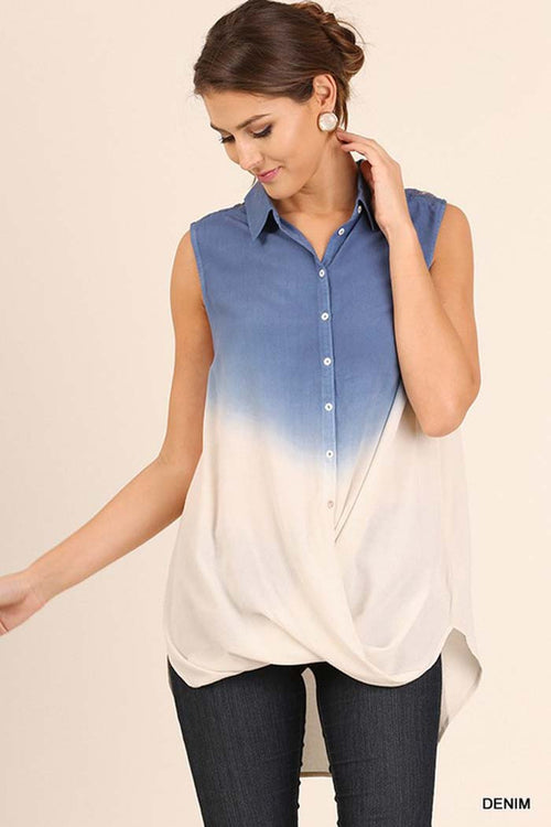 Ombre Button Down Top - Shirts - GOZON