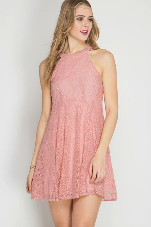Lace Halter Mini Dress - Mini - GOZON
