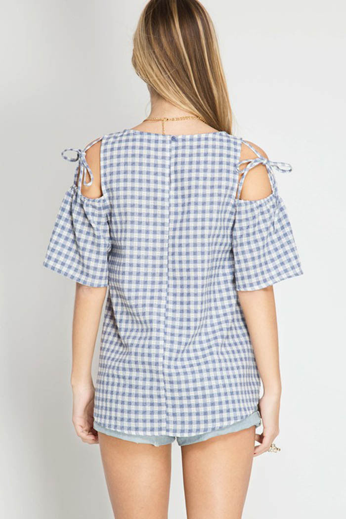 Gingham Plaid Top - Shirts - GOZON